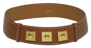 Hermès LADIES HERMES CONGNAC & GILT METAL LEATHER BELT