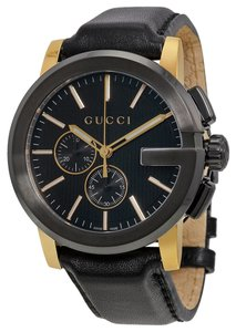 Gucci Mens Black Dial Leather Strap Gold Accents Dress Designer Watch