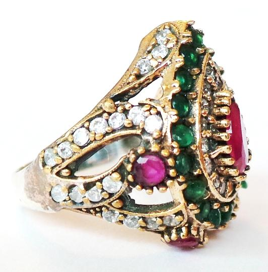 Other Gorgeous Natural Ruby Emerald Topaz 925 Sterling Silver Ring Size 7