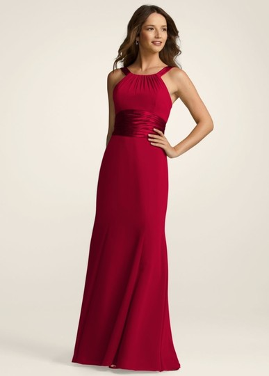 David's Bridal Red Chiffon and Charmeuse Rounded Neckline Bridesmaid/Mob Dress Size 8 (M)
