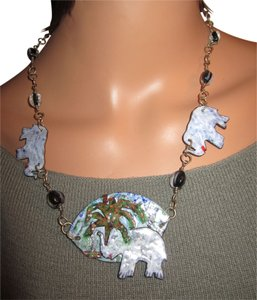 LPF LPF Enameled Elephant Folk Art Statement Sterling Silver Chain Necklace