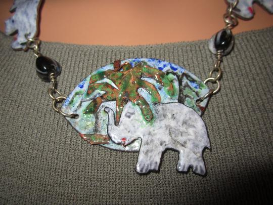 LPF LPF Elephant Folk Art Statement Sterling Silver Chain Necklace Image 1