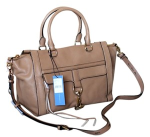 Rebecca Minkoff Leather Gold Hardware Trapeze Satchel in Fatigue (Beige/Light Brown)