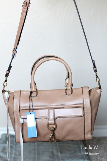 Rebecca Minkoff Leather Gold Hardware Trapeze Crossbody Versatile Satchel in Fatigue (Beige/Light Brown)