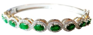 Gorgeous Natural Genuine Green Emerald, White Zircon Sterling Sliver 14k Bangle Bracelet 7.5