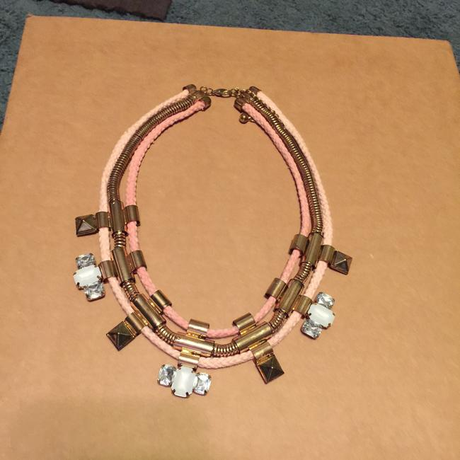 Item - Pink and Gold Statement Piece Necklace