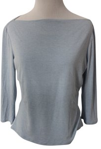 Trina Turk Boat Neck 3/4 Length Sleeves T Shirt Blue