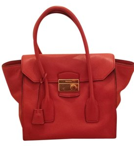 Prada Top Handle Leather Tote in Red