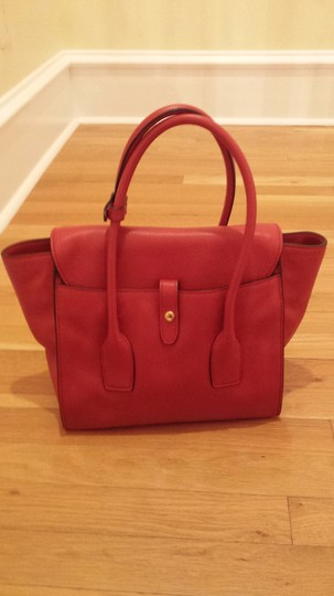 Prada Top Handle Leather Tote in Red Image 1