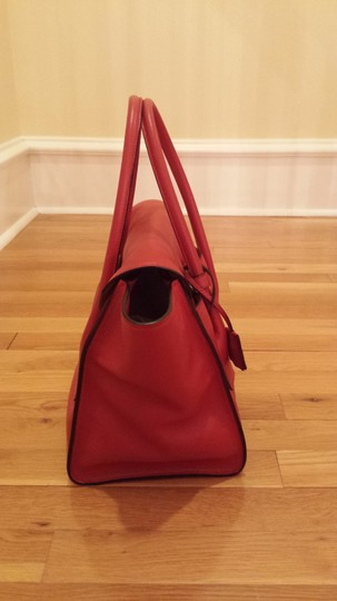 Prada Top Handle Leather Tote in Red Image 2