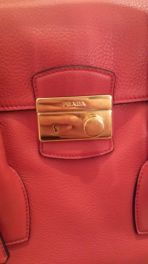 Prada Top Handle Leather Tote in Red Image 3