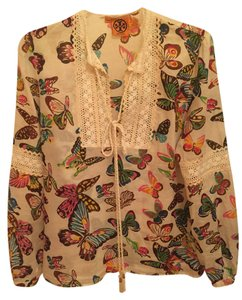 Tory Burch Tunic Cotton Top Cream colored background with Multi-Color Butterfly Print