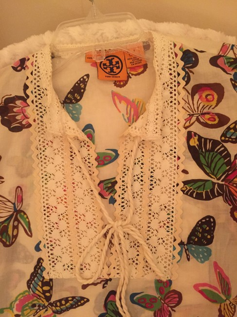 Tory Burch Tunic Cotton Long Sleeve Top Cream colored background with Multi-Color Butterfly Print