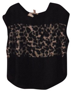 Ambiance Apparel Sheer Snakeskin Top Black, Grey and White