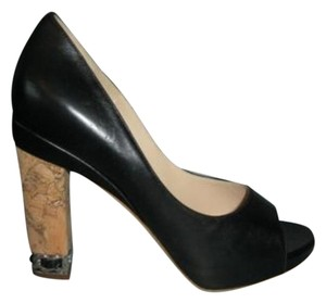Chanel Classic Leather Open Toe Cork Heels Black Pumps