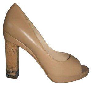 Chanel Classic Leather Cork Heels Chain Heels Beige Pumps