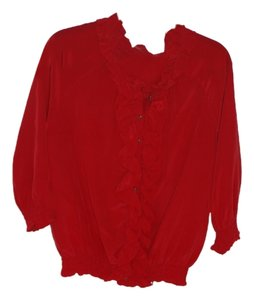 Joie Rebeca Taylor Silk Gold Buttons Top Red