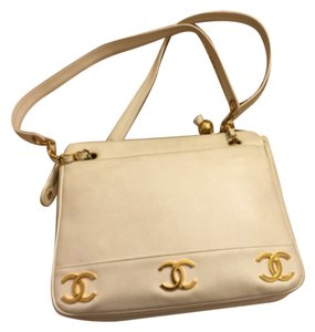 Vintage Chanel Bag (white gold hardware) Satchel in White