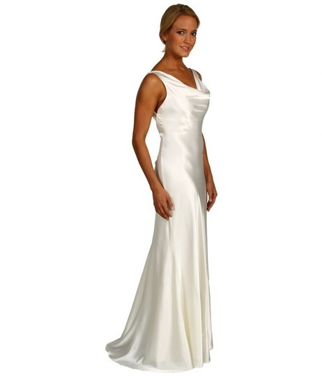 Cowl Neck Wedding Gown: Ivory Satin A.b.s Allen Schwartz Cowl Neck Gown Wedding