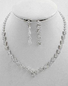 / Bridal/Bridesmaid Rhinestone Earring Se Necklace