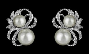 Soft Cream Classic Cz and Pearl Earrings