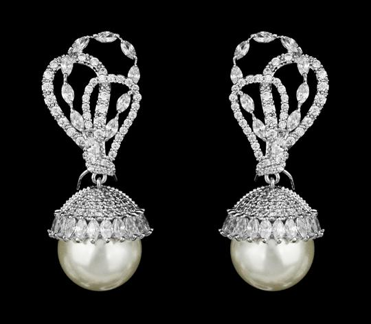Clear Highest Quality Aaa Cz and Pearl Statement Earrings