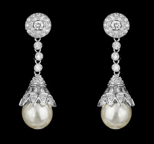 Soft Cream Highest Quality Aaa Cz and Pearl Statement Earrings