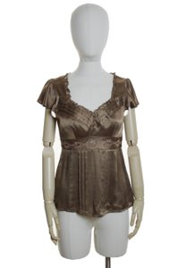 Nanette Lepore 100% Silk Charmeuse Top Brown