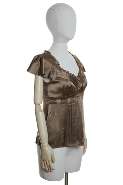 Nanette Lepore Silk Charmeuse Top Brown