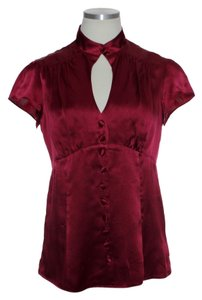 Nanette Lepore 100% Silk Charmeuse Short Sleeve Woven Top Red Burgundy