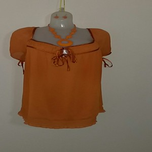 Lane Bryant Sheer Tieups Elastic Top Orange