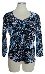 Chico's Stretch Knit 3/4 Sleeve Top bLUE