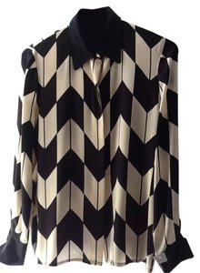 Nina Raynor Silk Padded Shoulders Top Black and White
