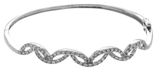 Other White Gold Swirling Diamond Bangle