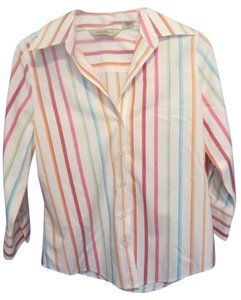 Eddie Bauer Top white with multi stripe