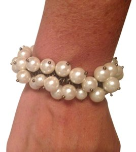 J.Crew J. Crew Stretchy Pearl and Bronze Bracelet