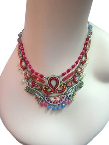 Ayala Bar Ayala Bar STATEMENT SILVER BIB SWAROVSKI CRYSTAL BEADS PINK RED BLUE NECKLACE