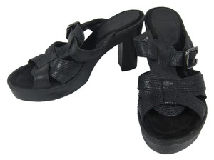 White Mountain Leather Open Toe Sandals black Platforms