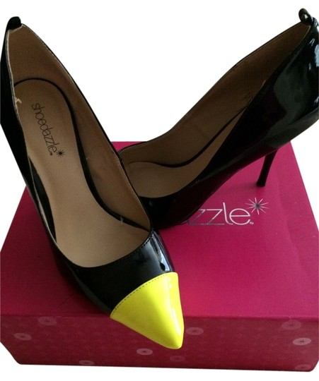 Preload https://item4.tradesy.com/images/shoedazzle-blackneon-yellow-pumps-4968373-0-0.jpg?width=440&height=440