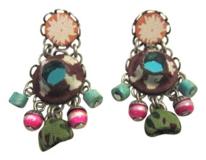 Ayala Bar AYALA BAR BROWN TURQUOISE GREEN DROP DANGLE POST BOHO EARRINGS