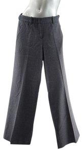 Prada Virgin Wool Flannel Wide Leg Pants Charcoal