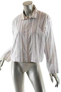 Eskandar Crop Double Collar Top White Pinstripe