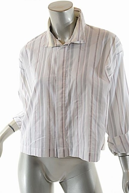 Eskandar Double Collar Top White Pinstripe