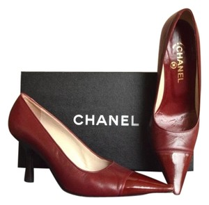 Chanel Leather Patent Leather Red Pumps