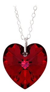 Other 925 Silver Ruby Red Swarovski Elements Heart Necklace, 18