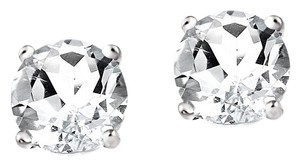 Other 2ct White Topaz 925 Silver Stud Earrings, 6mm