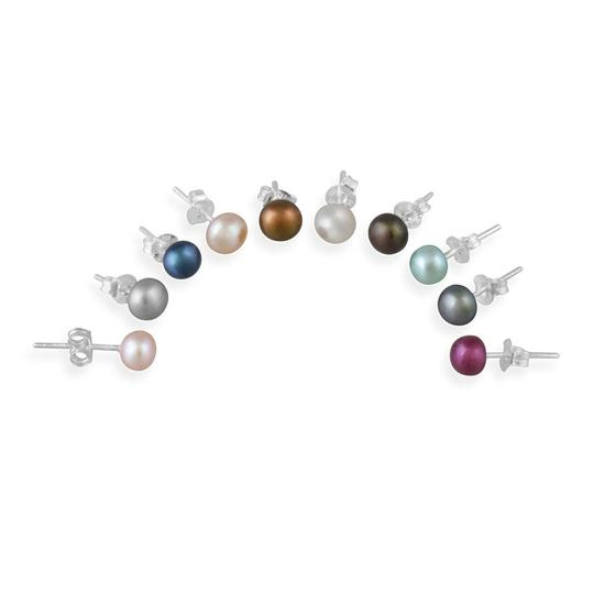 Other 925 Silver 5-5.5mm Multi Color Freshwater Pearl Stud Earrings - Set of 10