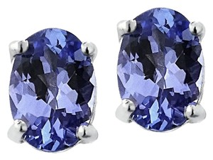 925 Sterling Silver 1ct Tanzanite 6x4 Oval Stud Earrings