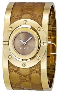 Gucci Brown leather Logo Embossed Cuff Gold Stainless Steel Designer Watch