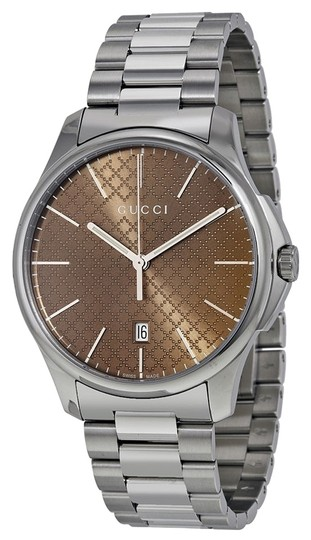 Gucci Gucci MENS Watch Brown Dial Diamond Print Silver Designer Watch